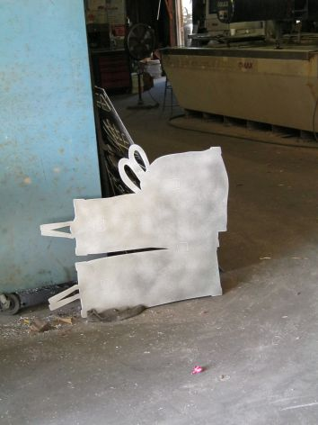 The luggage element waits for a ride to the powder coater - next step